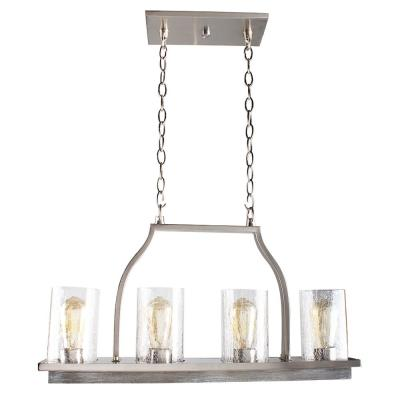 Westbury 4-Light Brushed Nickel with Painted Grey Driftwood Chandelier with Cracked Glass