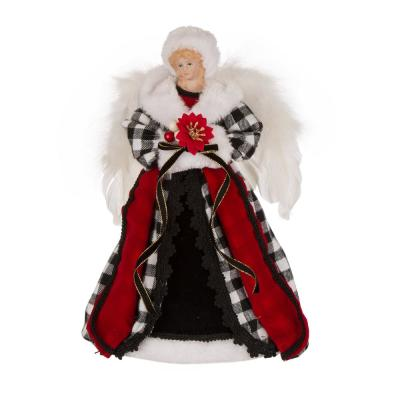 12 in. H Black and White Plaid Angel Tree Top