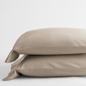 Velvet Flannel Feather Tan Solid King Pillowcase (Set of 2)