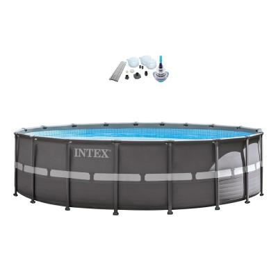 18 ft. x 52 in. Deep Metal Frame Soft Sided Pool Set with 2100 GPH Sand Filter Pump and V-Trap Vac