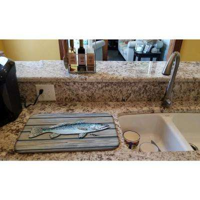14 in. x 21 in. Multicolor Fish Speckled Trout Dish Drying Mat
