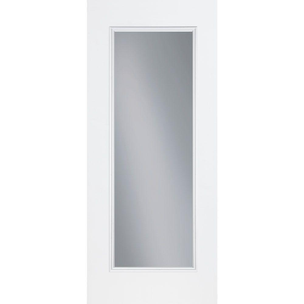 Masonite 36 in. x 80 in. Premium Full Lite Right-Hand Inswing Primed Steel Prehung Front Door No Brickmold
