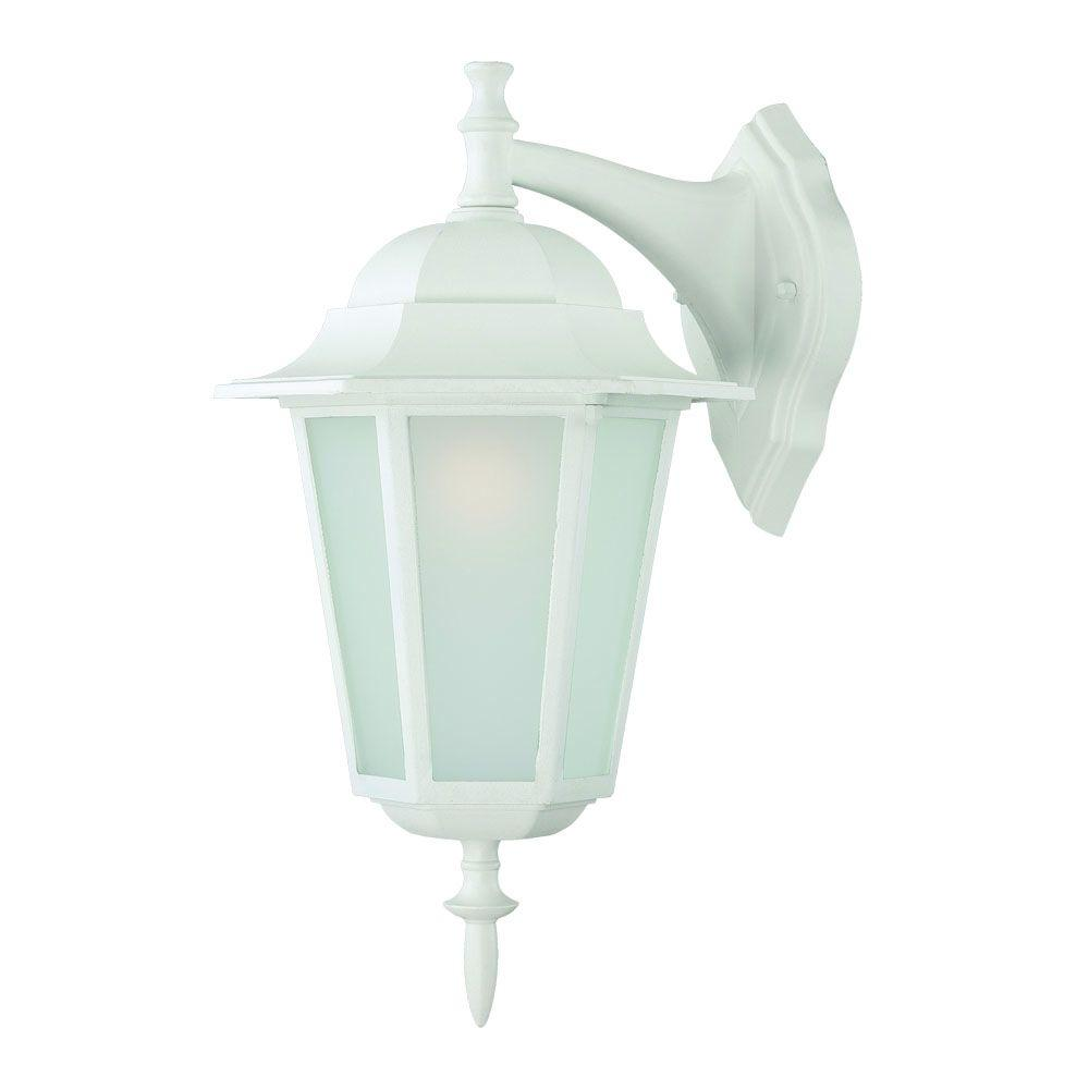 Camelot Collection 1-Light Textured White Outdoor Wall-Mount Light Fixture