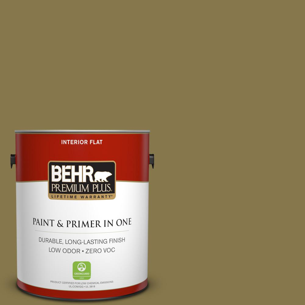 BEHR Premium Plus 1-gal. #M330-7 Green Tea Leaf Flat Interior Paint