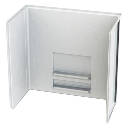 Acrylx Applied-Acrylic 30 in. x 60 in. x 55.4 in. 3-Piece Direct-to-Stud Alcove Subway Tile Shower Surround in White