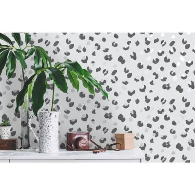 Painted Leopard Wallpaper Grey Paper Strippable Roll (Covers 57 sq. ft.)