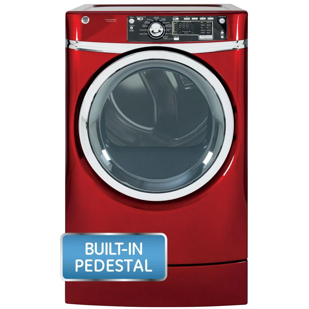 GE 8.3 cu. ft. Right Height Front Load Gas Dryer with Steam in Ruby Red, Pedestal Included
