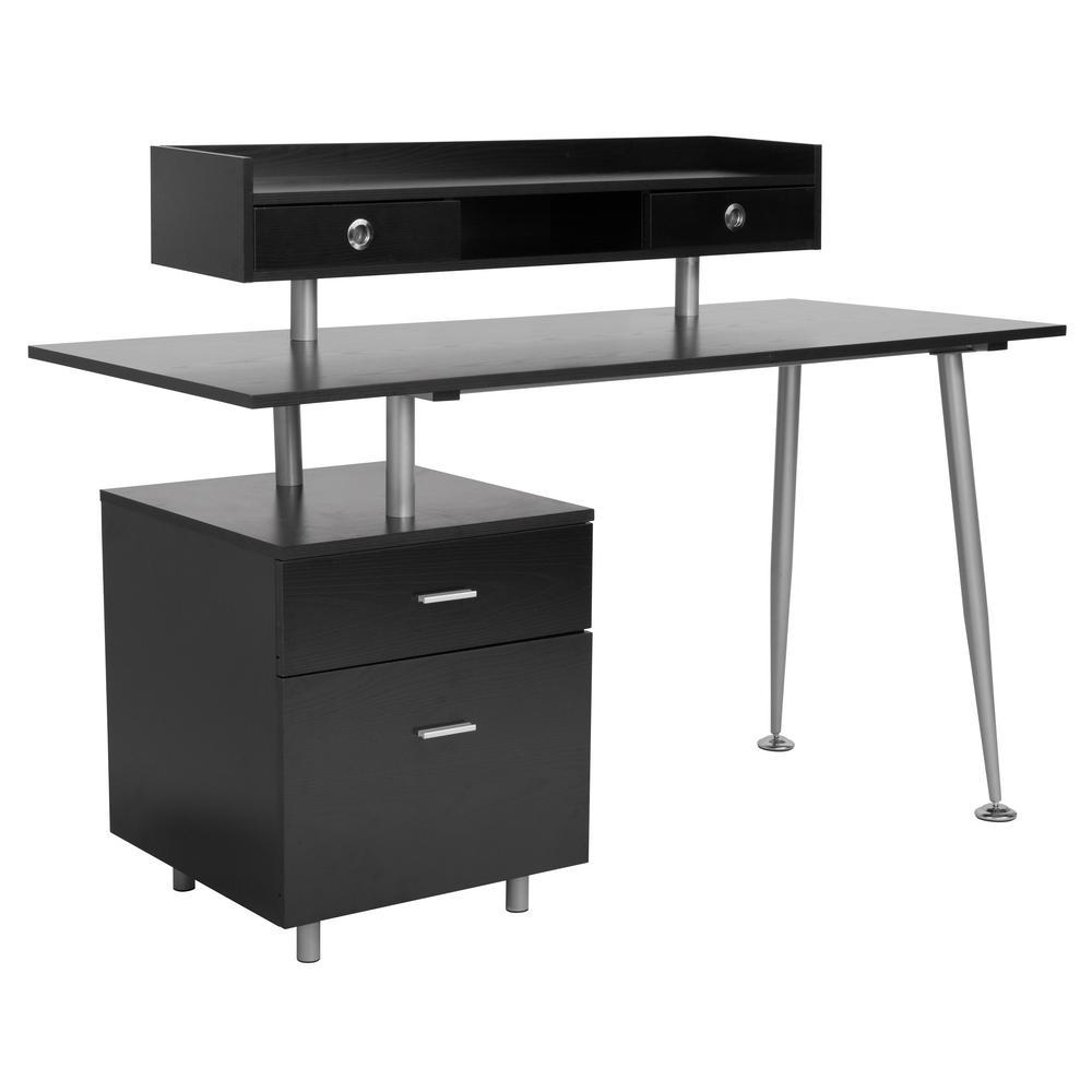 55 in. Rectangular Dark Ash 4 Drawer Computer Desk with File Storage