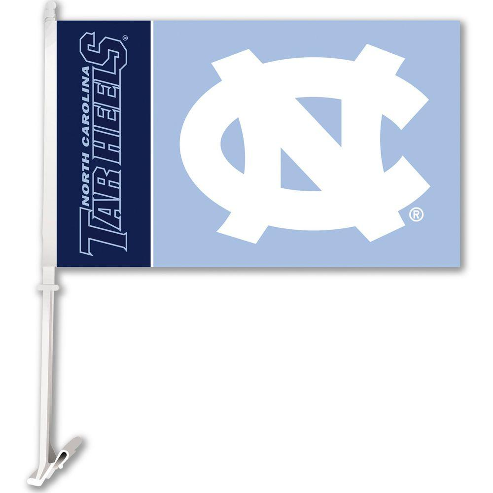 BSI Products NCAA 11 in. x 18 in. North Carolina 2-Sided Car Flag with 1-1/2 ft. Plastic Flagpole (Set of 2)