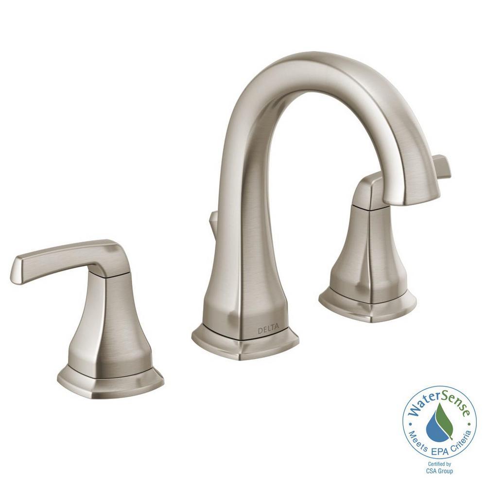 Delta bathroom faucet sink 8 inch widespread 2 handle - 8 inch brushed nickel bathroom faucet ...