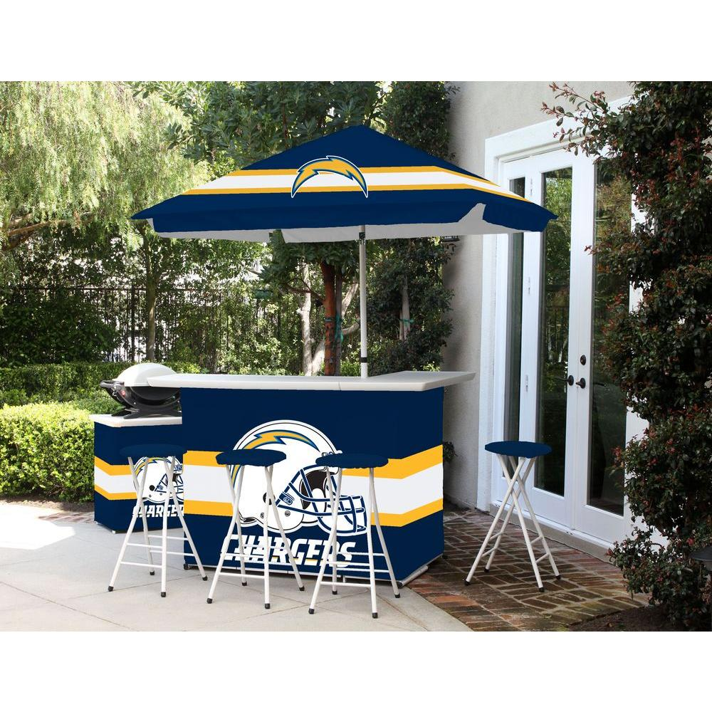 Best of Times San Diego Chargers 6-Piece All-Weather Patio Bar Set with 6 ft. Umbrella
