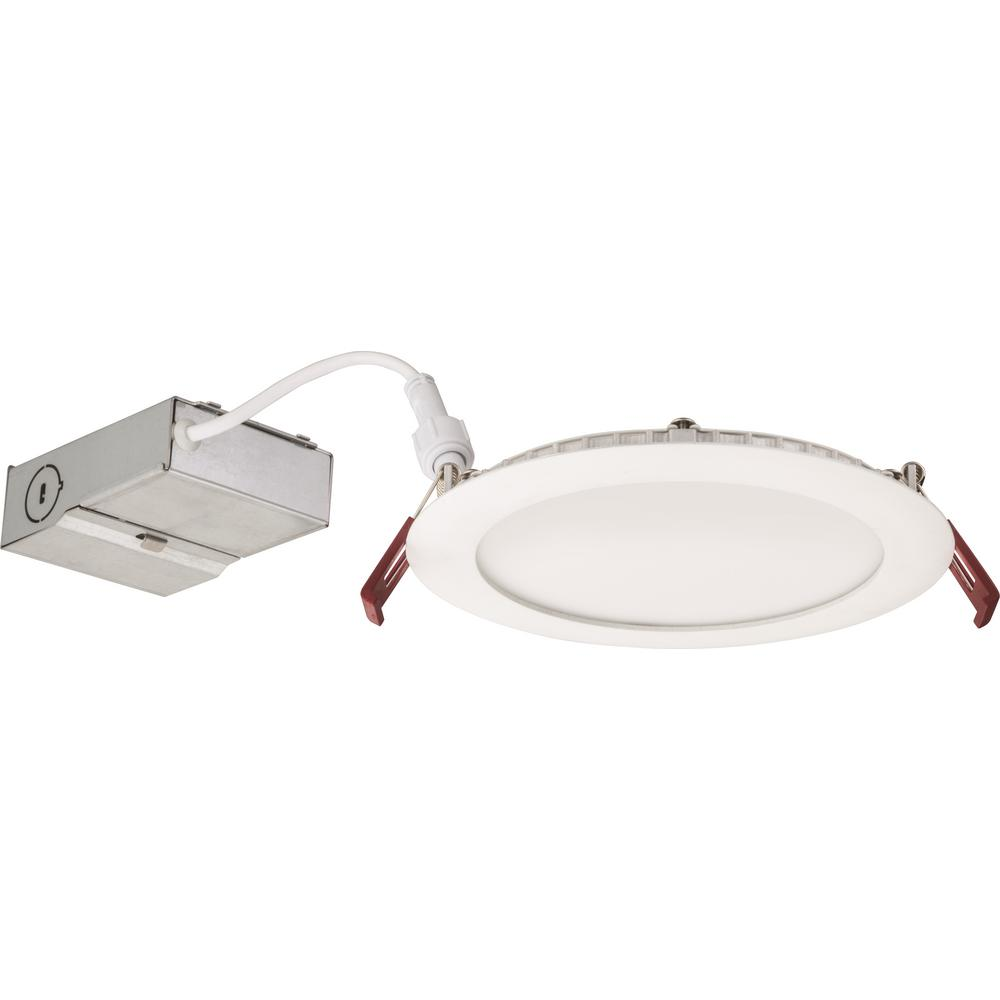Lithonia Lighting Wafer 6 in. White Integrated LED Recessed Kit-WF6 ...