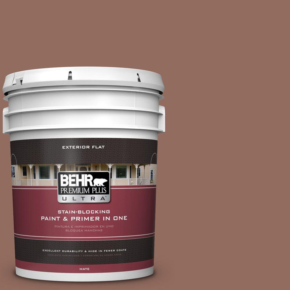 BEHR Premium Plus Ultra 5-gal. #220F-6 Chocolate Curl Flat Exterior Paint