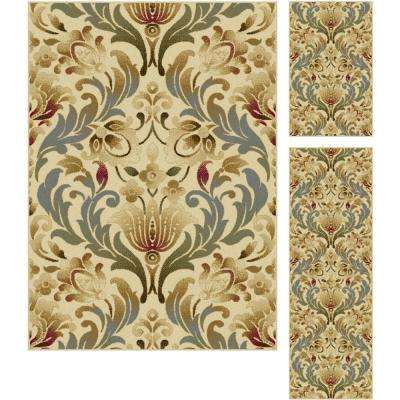 Laguna Ivory 5 ft. x 7 ft. 3-Piece Rug Set