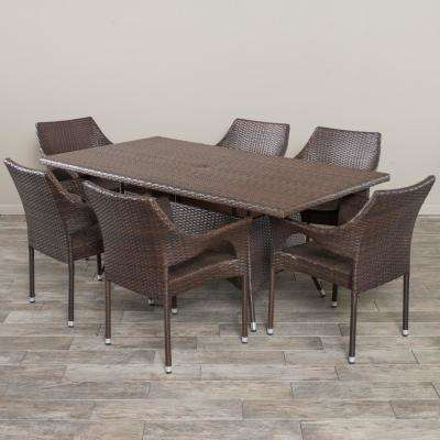 Sinclair Multi-Brown 7-Piece Wicker Outdoor Dining Set