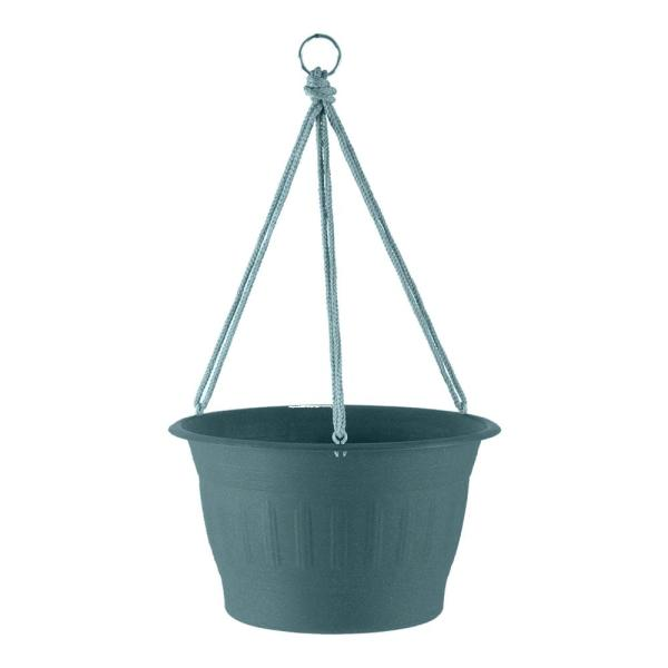Colonnade 12 in. x 7.5 in. Forest Green Wood Resin Plastic Hanging Basket Planter