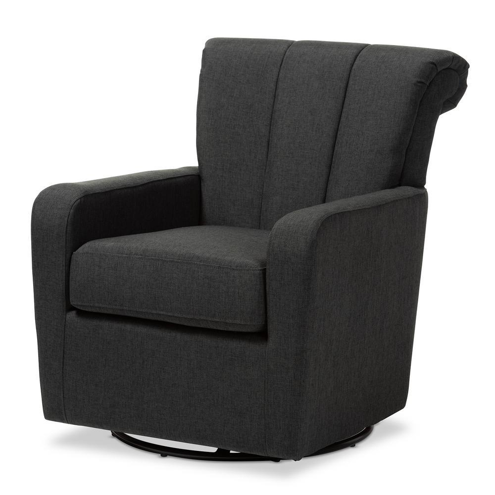 Baxton Studio Rayner Gray Fabric Swivel Chair 151-9256-HD