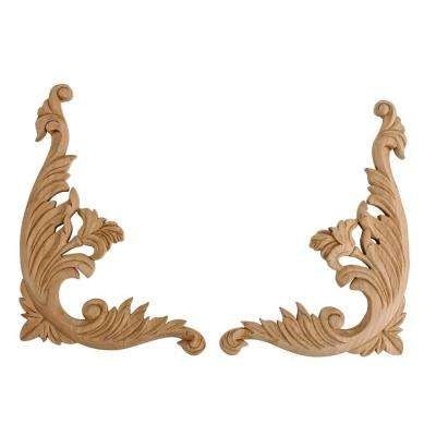 12 in. x 9-1/8 in. x 5/8 in. Unfinished Large Hand Carved North American Solid Cherry Wood Onlay Acanthus Wood Scroll