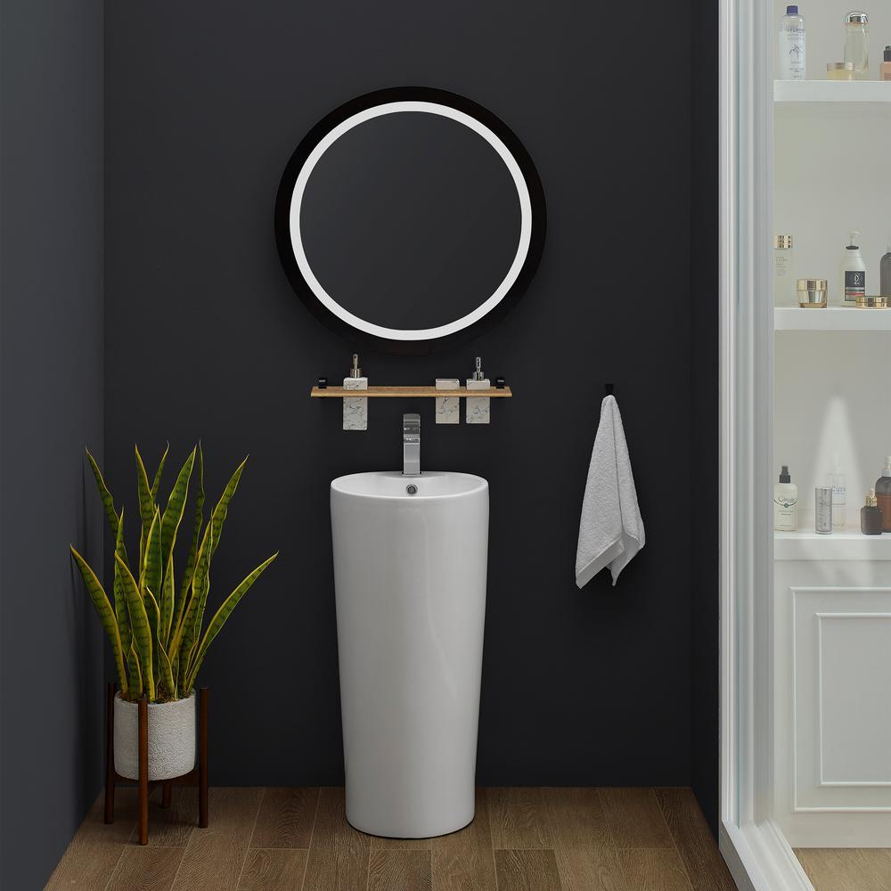 Monaco Circular Basin Pedestal Sink in Glossy White