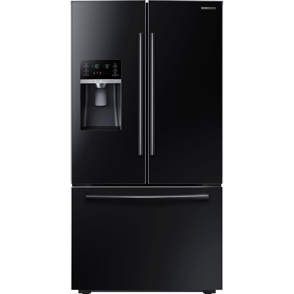French Door Refrigerator In Black, Counter Depth