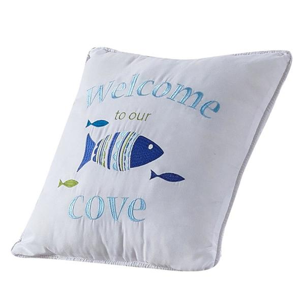 ''Welcome to Our Cove'' Coastal Microfiber 16 in. W x 16 in. L Decorative Throw Pillow