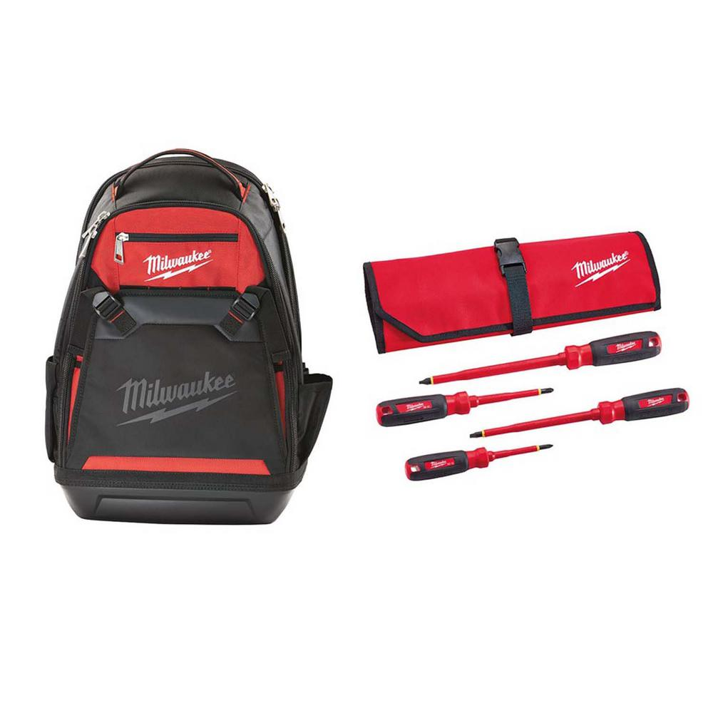 Milwaukee 10 in. Jobsite Backpack with 1000-Volt Insulated Screwdriver Set and Pouch (4-Piece)
