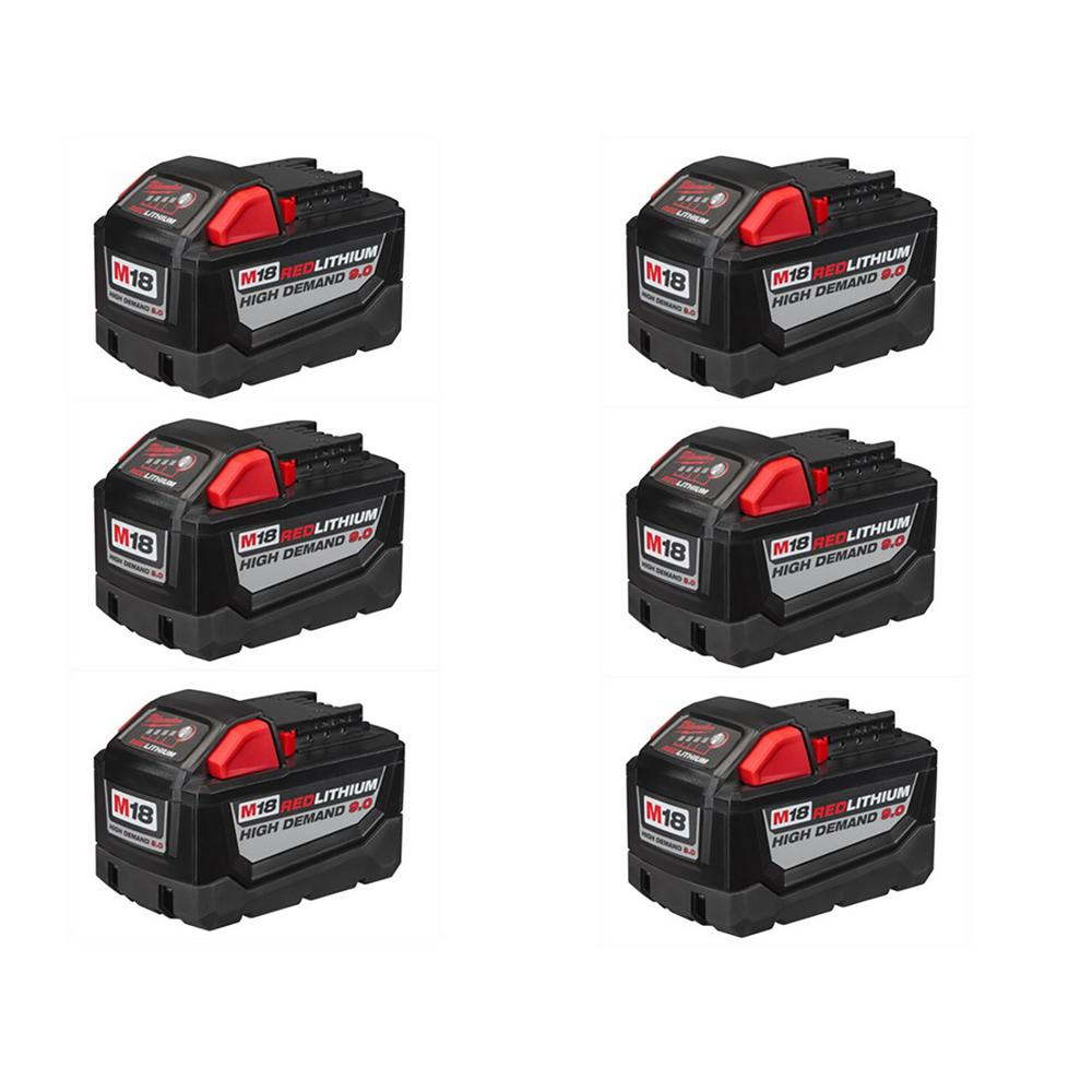 M18 18-Volt Lithium-Ion High Demand Battery Pack 9.0Ah (6-Pack)