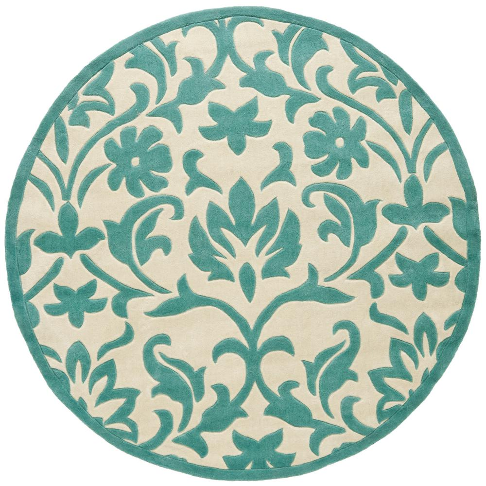 Safavieh modern art ivory light blue 6 ft 6 in x 6 ft 6 for Round area rugs contemporary