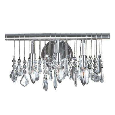 Nadia 3-Light Chrome Vanity/Sconce with Clear Crystal