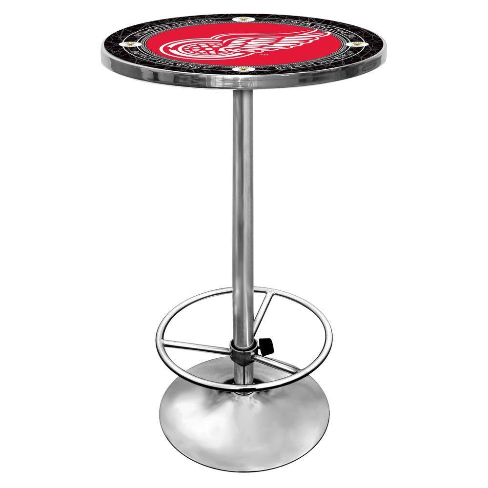NHL Vintage Detroit Redwings Chrome Pub/Bar Table