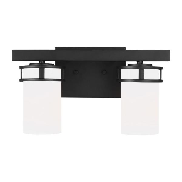 Robie 14.625 in. 2-Light Midnight Black Vanity Light with Etched White Inside Glass Shades