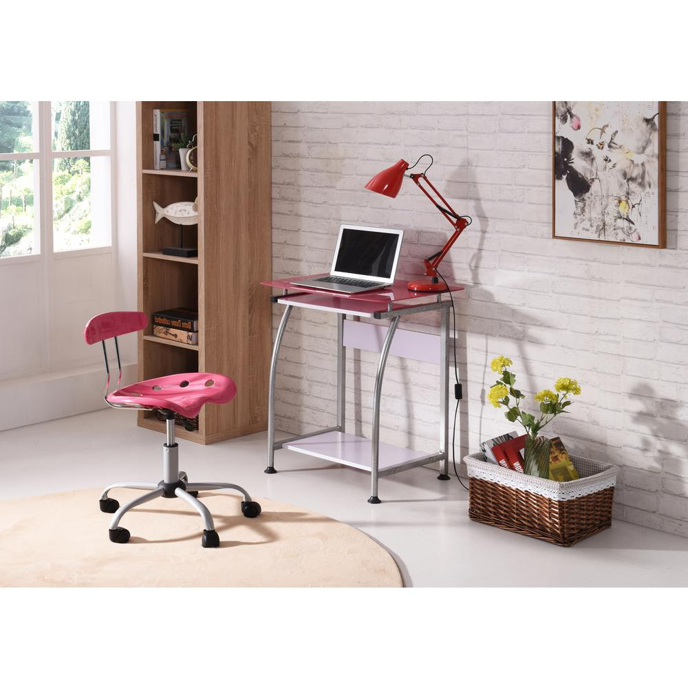 Hodedah Pink Glass Laptop Desk With Pull Out Keyboard Tray