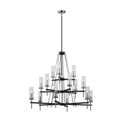 Broderick 15-Light Textured Black Chandelier with Clear Glass Shades