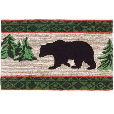 Bear in Pine Forest Multi 1 ft. 10 in. x 2 ft. 10 in. Accent Rug