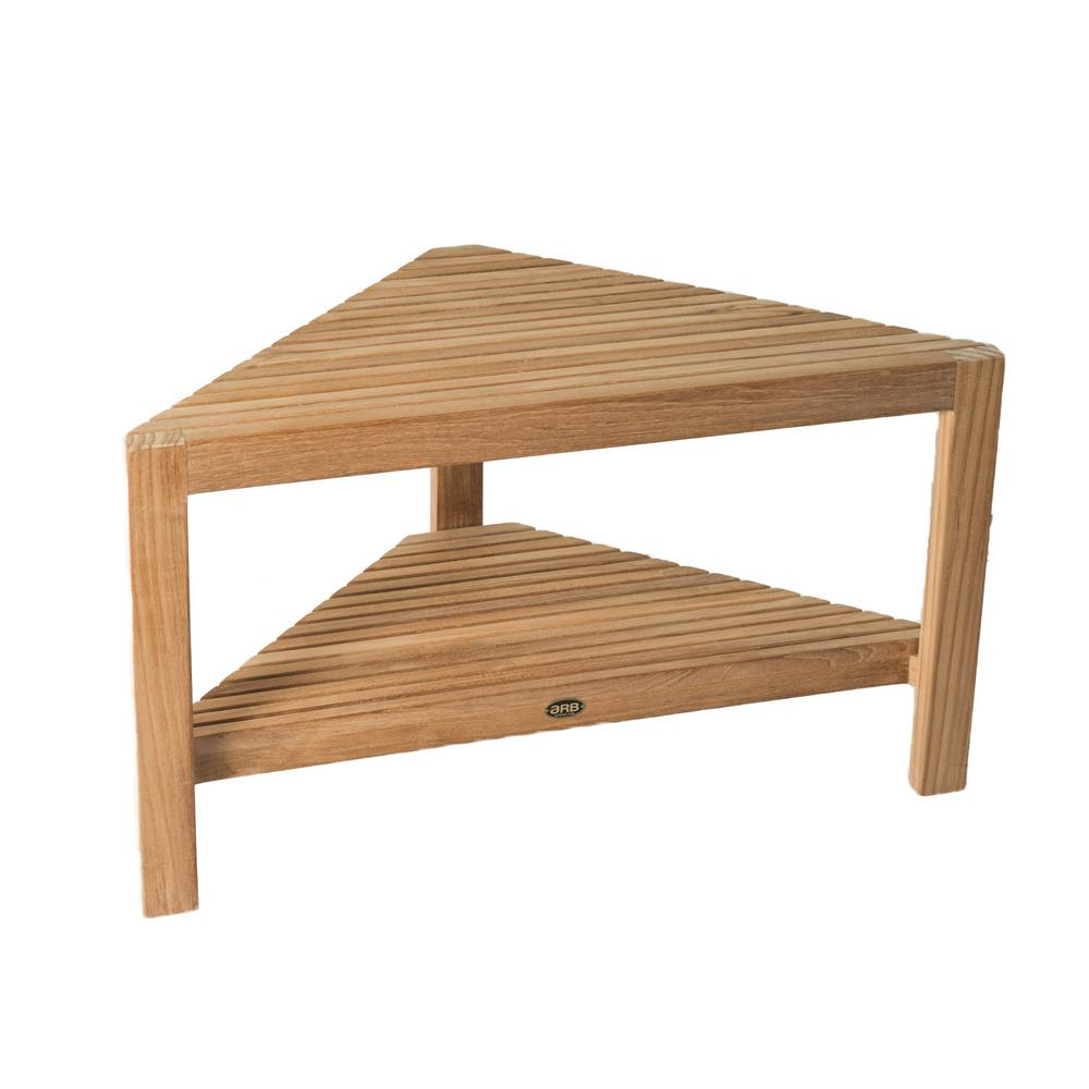 ARB Teak & Specialties 31-1/2 in. W Fiji Corner Bathroom Shower Seat with Shelf in Natural Teak