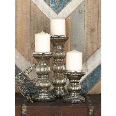 Clear Smoked Glass Candle Holders (Set of 3)