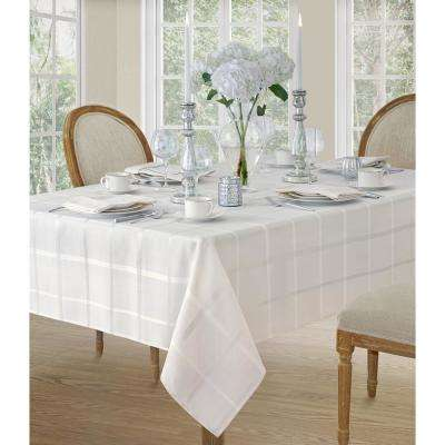 52 in. W x 70 in. L White Elrene Elegance Plaid Damask Fabric Tablecloth