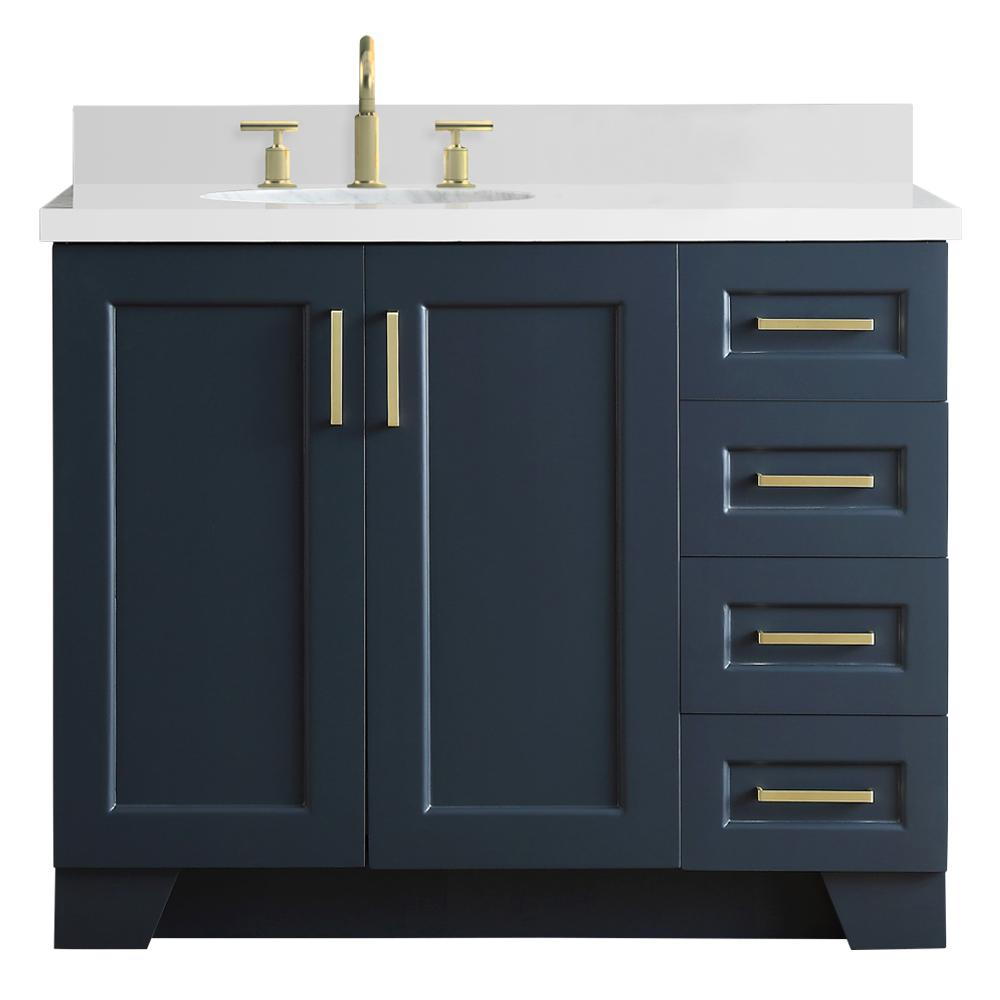 Ariel 43 in. W x 22 in. D Bath Vanity in Midnight Blue with Quartz Vanity Top in White with Left Offset White Oval Basin