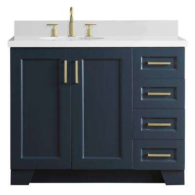 43 in. W x 22 in. D Bath Vanity in Midnight Blue with Quartz Vanity Top in White with Left Offset White Oval Basin