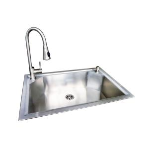 Glacier Bay Dual Mount Stainless Steel 22 In 1 Hole Single Bowl Fabricated Kitchen Sink With