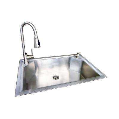 Dual Mount Stainless Steel 22 in. 1-Hole Single Bowl Fabricated Kitchen Sink with Faucet