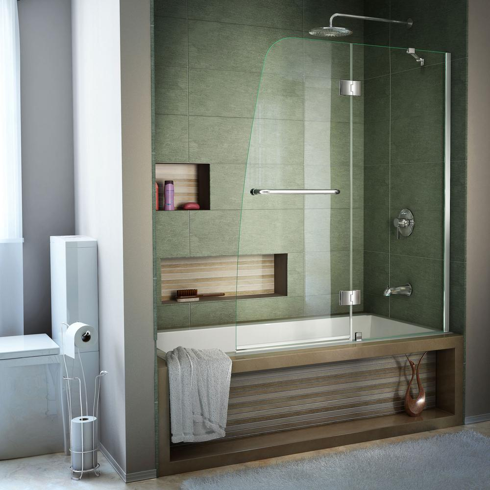 DreamLine Aqua 48 in. x 58 in. Semi-Framed Pivot Tub and Shower Door in Chrome with Handle