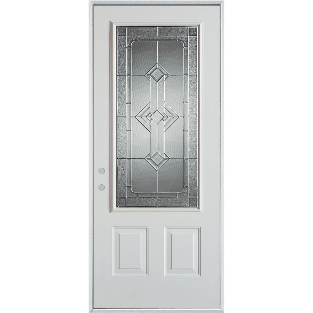 32 in. x 80 in. Neo-Deco Zinc 3/4 Lite 2-Panel Painted