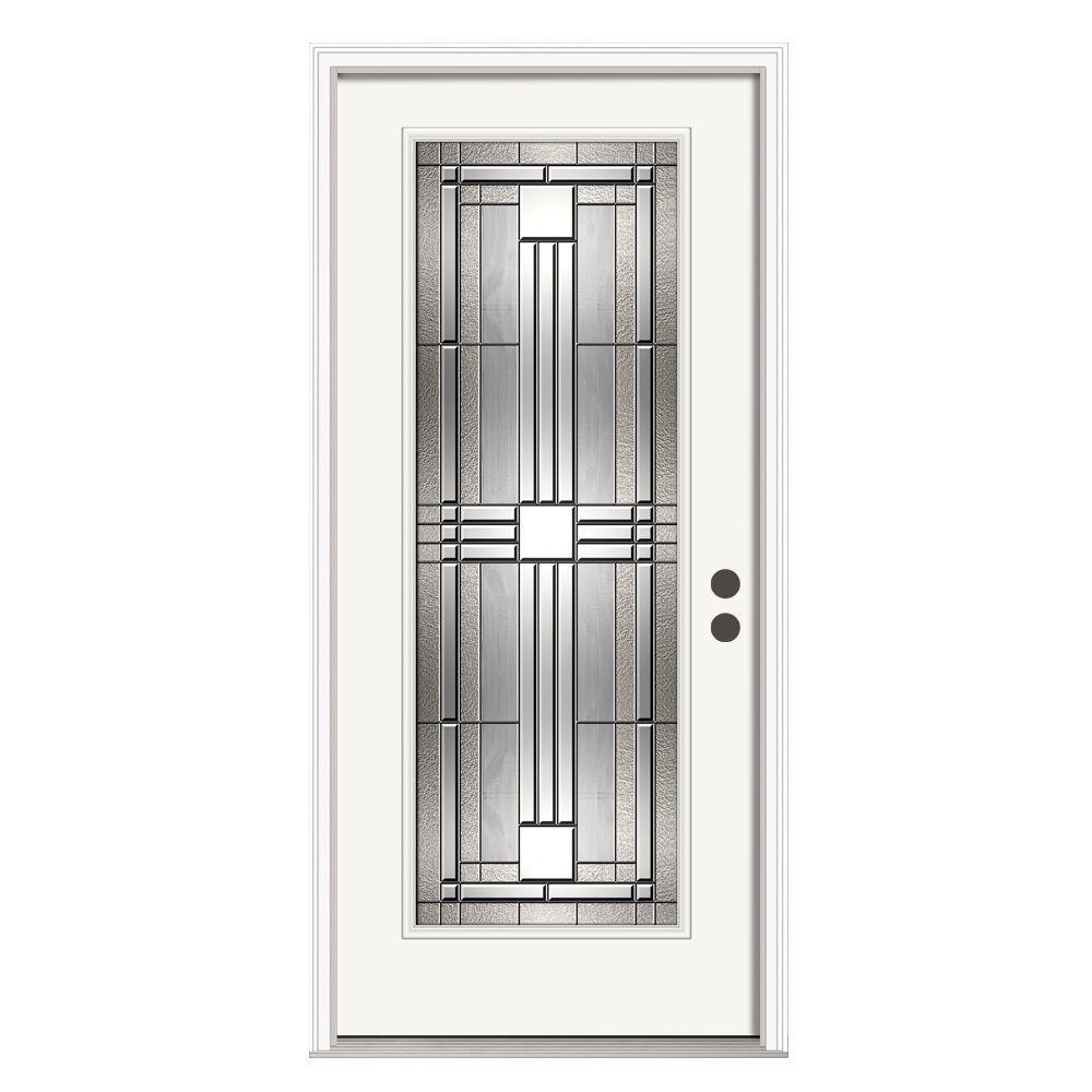 36 in. x 80 in. Full Lite Cordova Primed Steel Prehung Left-Hand Front Door w/Brickmould