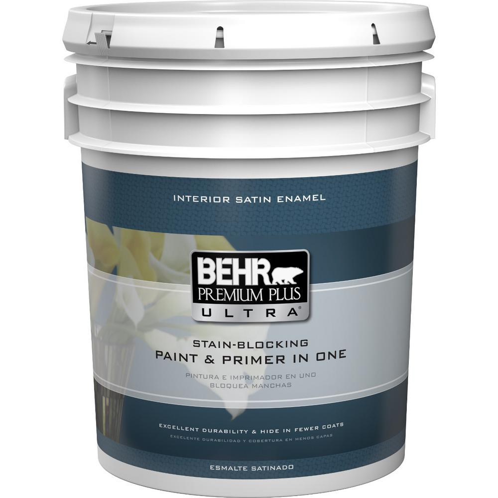 home depot paint interior behr premium plus ultra 5 gal ultra white satin 18114