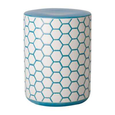 Beehive Blue and White Ceramic Garden Stool