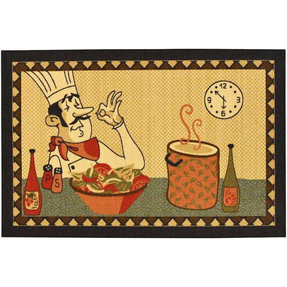 3x5 kitchen rugs beige ottomanson siesta kitchen collection chef design beige ft in ft