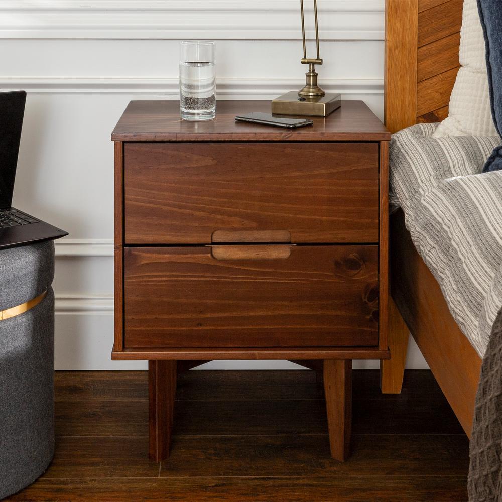2-Drawer Walnut Mid Century Modern Wood Nightstand