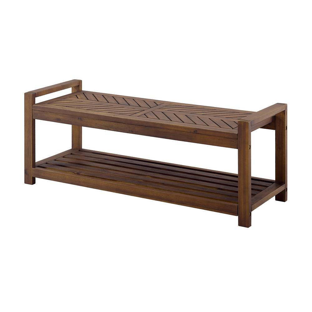 Walker Edison Furniture Company Chevron Acacia Dark Brown Wood Outdoor Patio Storage Bench