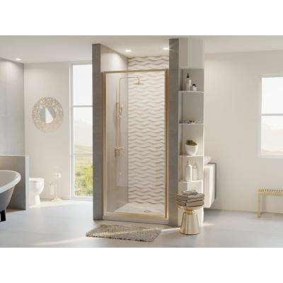 Legend 26.625 in. to 27.625 in. x 64 in. Framed Hinged Shower Door in Brushed Nickel with Clear Glass